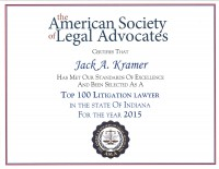 Jack Kramer Top 100 Personal Injury Lawyer Indiana
